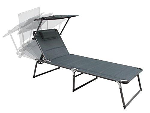Trendy-Home24 Aluminium Sonnenliege Gartenliege XXL Alu Liege mit Dach Dreibeinliege Textilene grau anthrazit 200x70 cm bis 150kg Quick Dry Foam