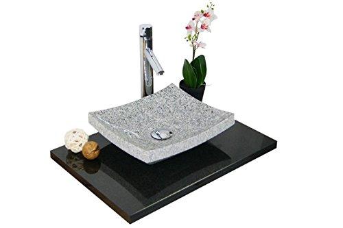 Waschbecken aus Naturstein, Granit, Model Dublin35, weiß/grau
