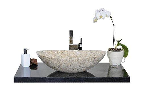 Waschbecken aus Naturstein, Granit, Model Monaco, gelb 56x38cm