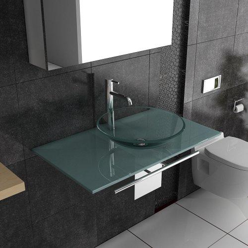Waschplatzlösung / Klarglasbecken / Milchglasplatte / Waschbecken / Alpenberger / Serie 120 / Waschplatz / Badmöbel aus Glas / Waschtisch / Waschtische / Badgestaltung