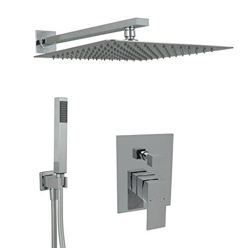 Welfenstein Regendusche komplett Set 34-30HC7Q alles Metall Duschkopf 30x30 cm eckig Unterputz