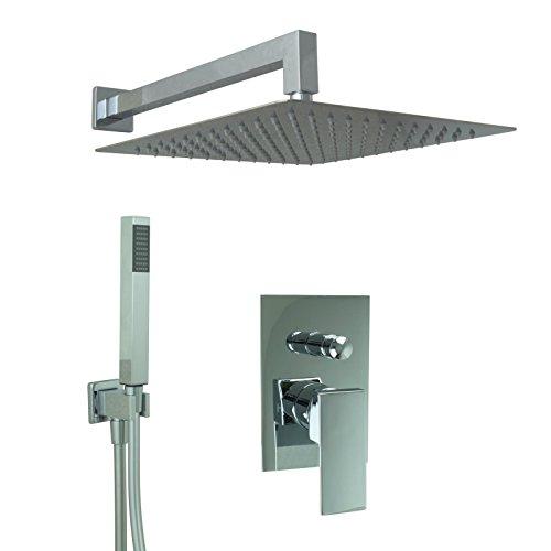 Welfenstein Regendusche komplett Set 75-30HC7 alles Metall Duschkopf 30x30 cm eckig Montage-Box Unterputz