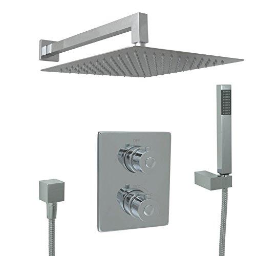 Welfenstein Thermostat Unterputz Set T10-30HC3 Regendusche 30x30cm alles Metall