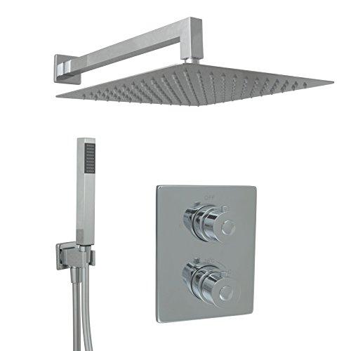 Welfenstein Thermostat Unterputz Set T10-30HC7P Regendusche 30x30cm alles Metall