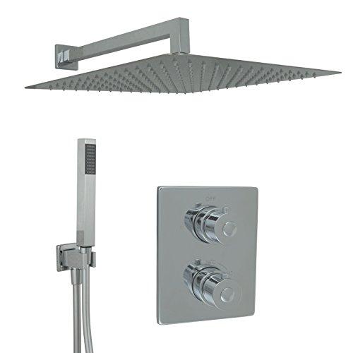 Welfenstein Thermostat Unterputz Set T10-40HC7P Regendusche 40x40cm alles Metall