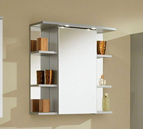 Zoll Simply Mendo Spiegelschrank Chelsea mit 1 Spiegeltür, 2 Glasfachböden und 6 seitliche Ablagefächer in silber