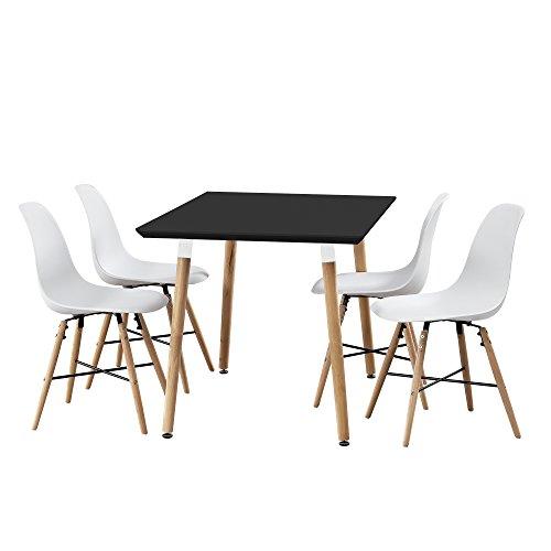 esstisch bambus mit 4 st hlen wei 120x80cm. Black Bedroom Furniture Sets. Home Design Ideas