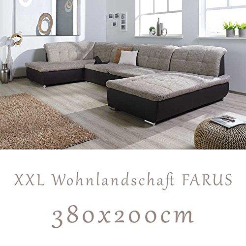 Wohnlandschaft couchgarnitur xxl sofa u form braun for Wohnlandschaft u form braun