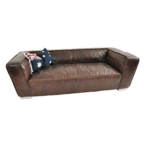 Clubsofa Eastwood 3-Sitzer Vintage Cigar Vintage-Leder Echtleder Sofa Couch braun