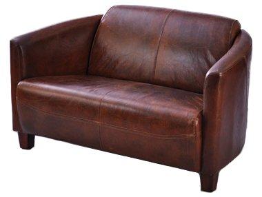 Clubsofa Rocket 2-Sitzer Echtleder Sofa Couch Vintage Cigar Leder, dunkelbraun