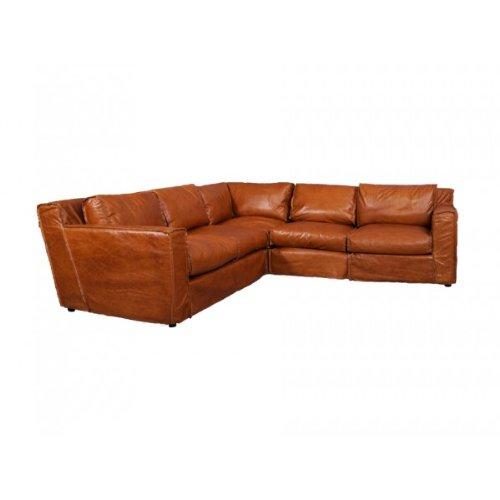 Ecksofa Leder Redhill 5-Sitzer Columbia Brown Sofa Sitzecke Brasilianisches Rindsleder Echtleder