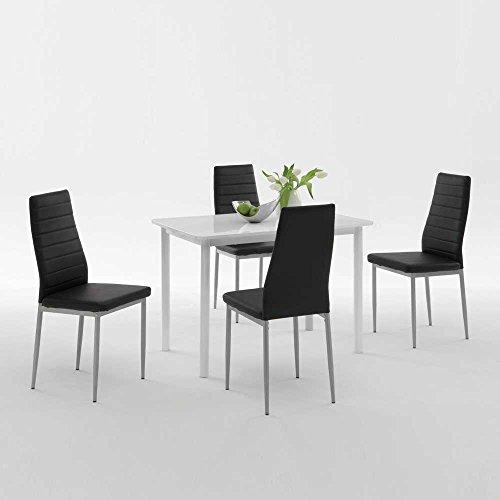 Esstisch mit Stühlen in Weiß Hochglanz Schwarz Kunstleder (5-teilig) Pharao24