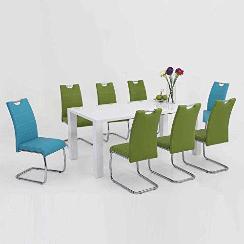 Esstischgruppe mit ausziehbarem Tisch Weiß Hochglanz Blau Grün (9-teilig) Pharao24
