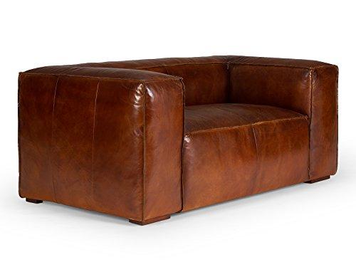 Massivum Calverton Sofa 2Sitzer Echtleder Vintage, Leder, braun, 104 x 196 x 76 cm