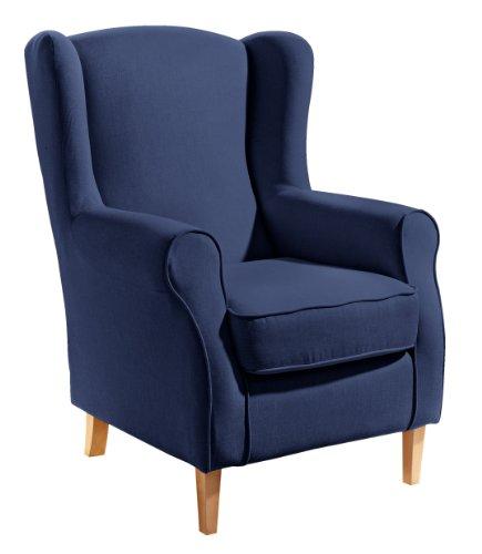 Max Winzer 279511001645246 Lione Ohrenbackensessel Flachgewebe, dunkel blau