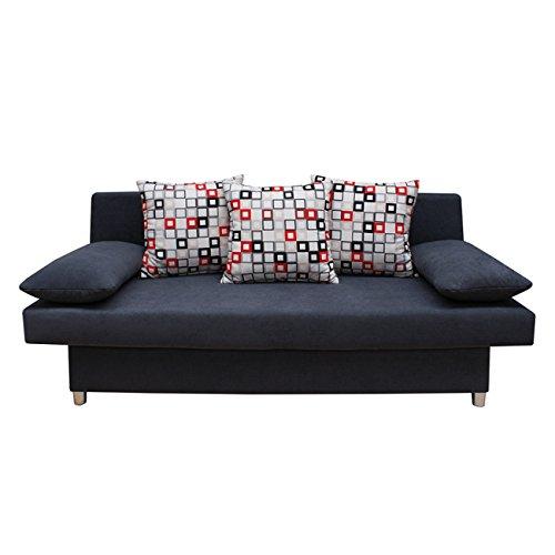 sam design schlafsofa dagobert in schwarz f e in edelstahloptik drei r ckenkissen und zwei. Black Bedroom Furniture Sets. Home Design Ideas