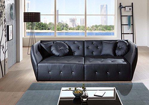SAM® Design Sofa Shel in schwarz Couch inklusive 4 Kissen abgesteppte Oberfläche mit Ziersteinen Lieferung per Spedition