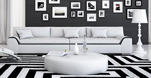 SAM® Design Wohnzimmer Sofa Arica aus SAMOLUX®, in weiß mit schwarzem Akzent, ca. 280 cm breit, 3-Sitzer, pflegeleichte Oberfläche, angenehmer Sitzkomfort, inkl. 3 Kissen, designed by Ricardo Paolo®