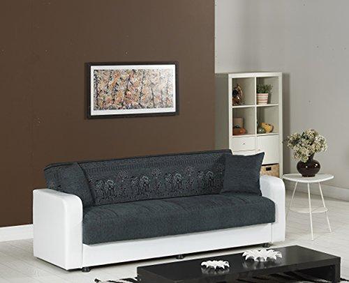 Schlafsofa   Kippsofa   Sofa mit Schlaffunktion   Klappsofa   Bettfunktion   mit Bettkasten   Bettcouch   Schlafcouch   Sofabett   Bettsofa   Dreisitzer   Weiß   Grau   Elefant