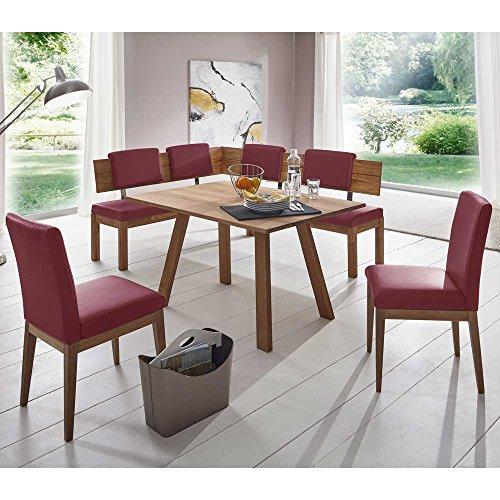 Sitzecke in Rot Kunstleder Wildeiche Massivholz (4-teilig) Pharao24