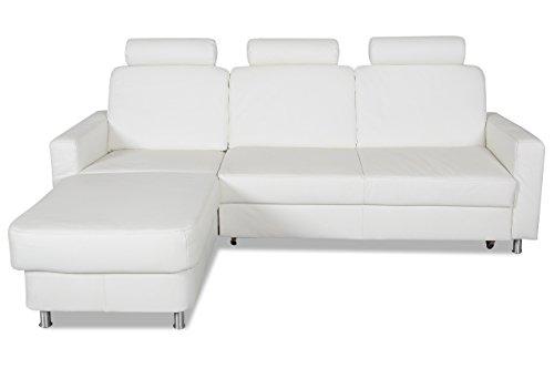 Sofa Couch ADA Alina Leder Ecksofa 7427 - mit Schlaffunktion - Weiss