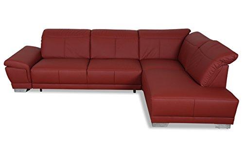 Sofa Couch ADA Alina Leder Ecksofa XL 7627 - mit Schlaffunktion - Rot