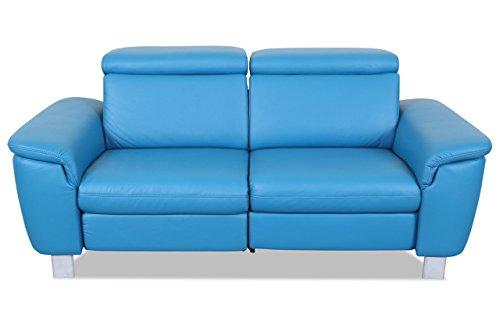 Sofa Couch Leder 2er-Sofa - mit Relax - Blau mit Federkern