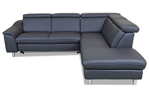 Sofa Couch Leder Rundecke - mit Schlaffunktion - Anthrazit