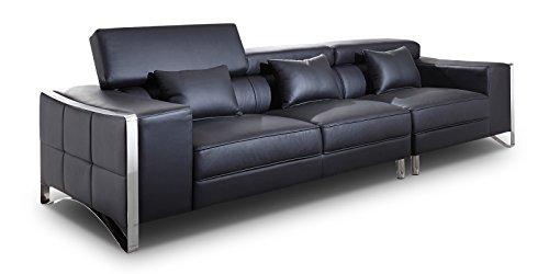 XXL Big Sofa Gusti 4-Sitzer Echtleder mit Kunstleder Edelstahl Schwarz