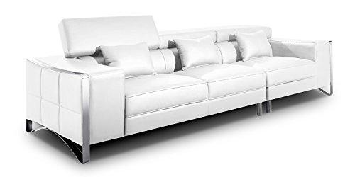 XXL Big Sofa Gusti 4-Sitzer Echtleder mit Kunstleder Edelstahl Weiß