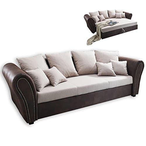 ROLLER Big Sofa - beige-braun - mit Liegefunktion