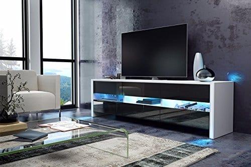 TV Schrank Lowboard Sideboard SKY (weiß matt / schwarz hochglanz mit LED)
