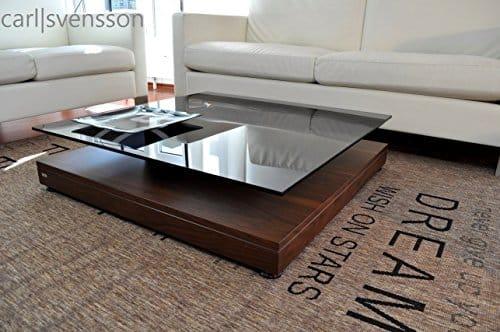 Design Couchtisch V-570 Walnuss / Nussbaum getöntes Glas Carl Svensson