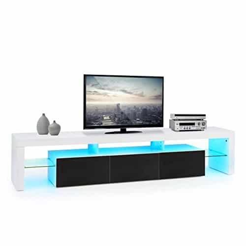 oneConcept Orlando Lowboard TV Board Fernsehschrank Sideboard (Material: MDF, Schubfach-Volumen: je 13 Liter, Fläche Glasablagen: 780 cm², integrierte LED-Leiste, Farbwechselmodi, Fernbedienung) weiss