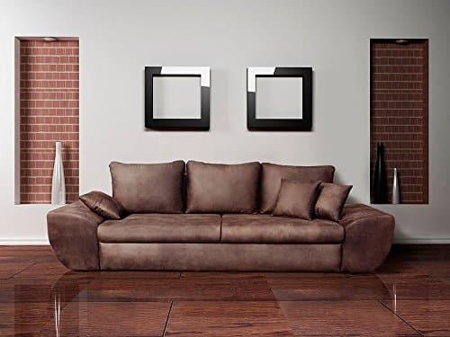Big Sofa, braun, mit Schlaffunktion, Bettkasten, Vintage Look, Microfaser | XXL Couch | Großes Relexsofa | Megasofa