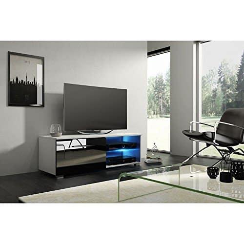 SONESTA - ACAPULCO - TV Schrank Lowboard Sideboard mit LED - matt weiß / glänzend schwarz