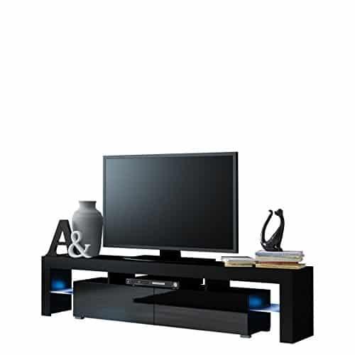 TV Schrank Solo, Unterschrank mit LED, Fernsehschrank, TV Lowboard mit Grifflose Öffnen, Hochglanz Matt Wohnwand (mit blauer LED Beleuchtung, Schwarz Matt / Schwarz Hochglanz)