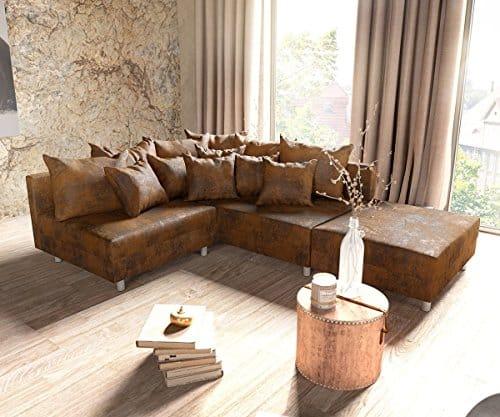 Couch Clovis modular - Ecksofa, Sofa, Wohnlandschaft & Modulsofa (Braun, Ecksofa Rechts mit Hocker)