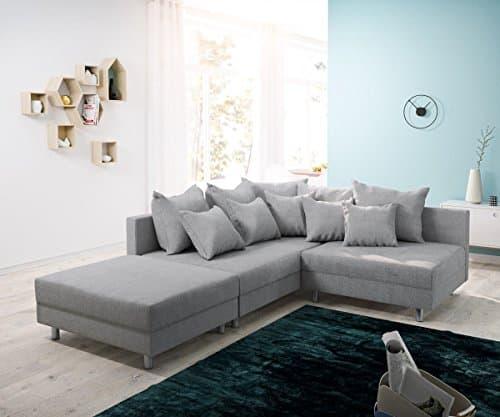 Couch Clovis modular - Ecksofa, Sofa, Wohnlandschaft & Modulsofa (Grau, Ecksofa Links mit Hocker)