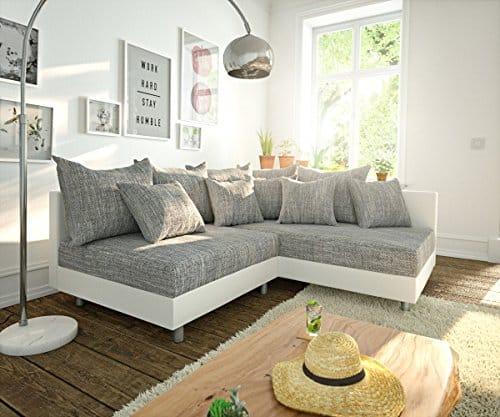 Couch Clovis modular - Ecksofa, Sofa, Wohnlandschaft & Modulsofa (Grau/Weiss, Ecksofa Rechts)