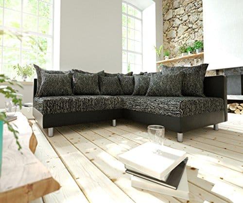 Couch Clovis modular - Ecksofa, Sofa, Wohnlandschaft & Modulsofa (Schwarz/Schwarz, Ecksofa Rechts)