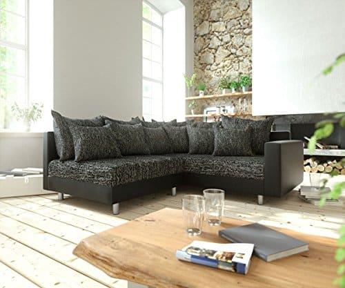 Couch Clovis modular - Ecksofa, Sofa, Wohnlandschaft & Modulsofa (Schwarz/Schwarz, Ecksofa Rechts mit Armlehne)