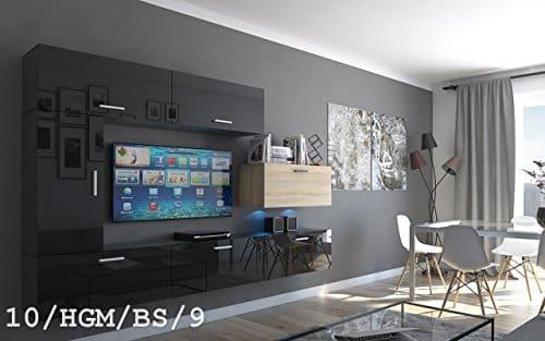 FUTURE 10 Wohnwand Anbauwand Wand Schrank TV-Schrank Wohnzimmer Wohnzimmerschrank Hochglanz Matt Weiß Schwarz Sonoma LED RGB Beleuchtung