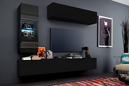 FUTURE 12 Wohnwand Anbauwand Möbel Set Wohnzimmer Schrank Wohnzimmerschrank Matt Schwarz Weiß LED RGB Beleuchtung