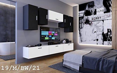 FUTURE 19 Wohnwand Anbauwand Möbel Zimmer Schrank TV-Schrank Mediamöbel Matt Weiß Schwarz Sonoma LED RGB Beleuchtung