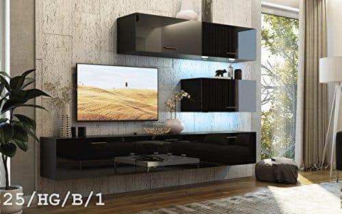 FUTURE 25 Wohnwand Anbauwand TV-Schrank Möbel Wohnzimmer Wohnzimmerschrank Hochglanz Weiß Schwarz LED RGB Beleuchtung