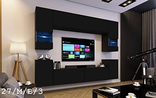 FUTURE 27 Wohnwand Anbauwand Wand Schrank Möbel TV-Schrank Wohnzimmer Wohnzimmerschrank Matt Weiß Schwarz LED RGB Beleuchtung