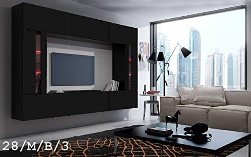 FUTURE 28 Wohnwand Anbauwand Wand Schrank TV-Schrank Wohnzimmer Wohnzimmerschrank Matt Weiß Schwarz LED RGB Beleuchtung