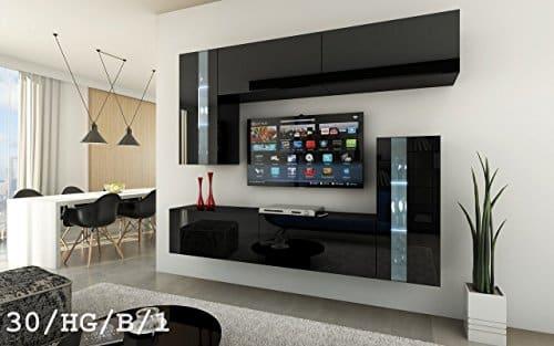 FUTURE 30 Moderne Wohnwand, Exklusive Mediamöbel, TV-Schrank, Schrankwand, TV-Element Anbauwand, Neue Garnitur, Große Farbauswahl (RGB LED-Beleuchtung Verfügbar)