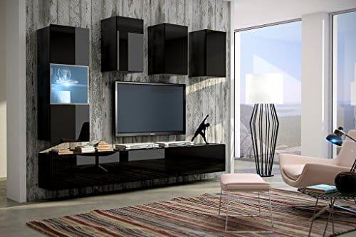 FUTURE 4 Moderne Wohnwand, Exklusive Mediamöbel, TV-Schrank, Neue Garnitur, Große Farbauswahl (RGB LED-Beleuchtung Verfügbar)